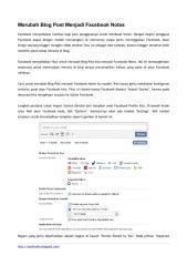Merubah Blog Post Menjadi Facebook Notes