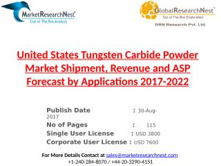 United States Tungsten Carbide Powder Market Shipment, Revenue and ASP Forecast by Applications 2017-2022.pptx
